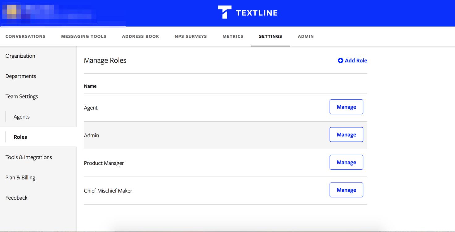Textline software admin permissions screen