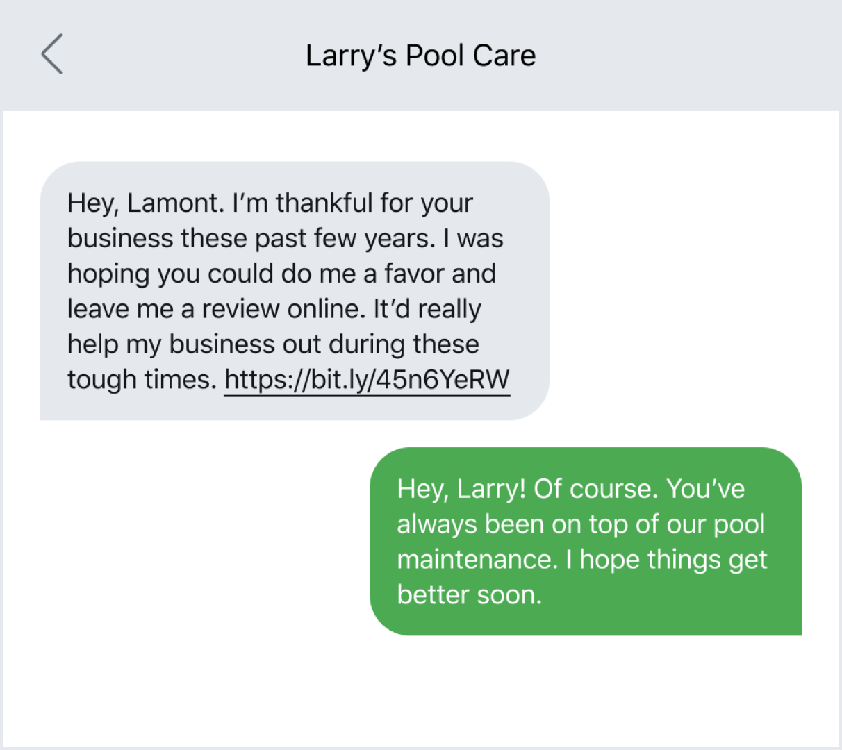 Text message example of a long-time customer offering a review