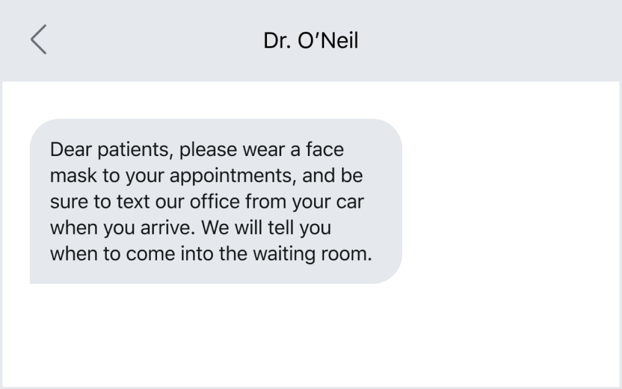 Example of using texting to remind patients of office policies