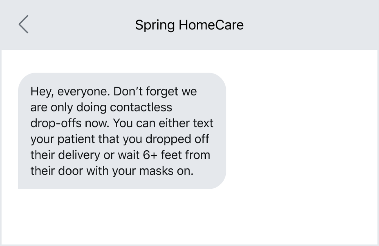 Example of home healthcare businesses keeping up with their team using business textin