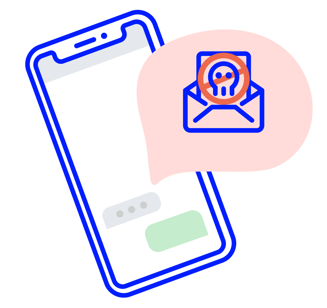 Phone with a spam mail icon