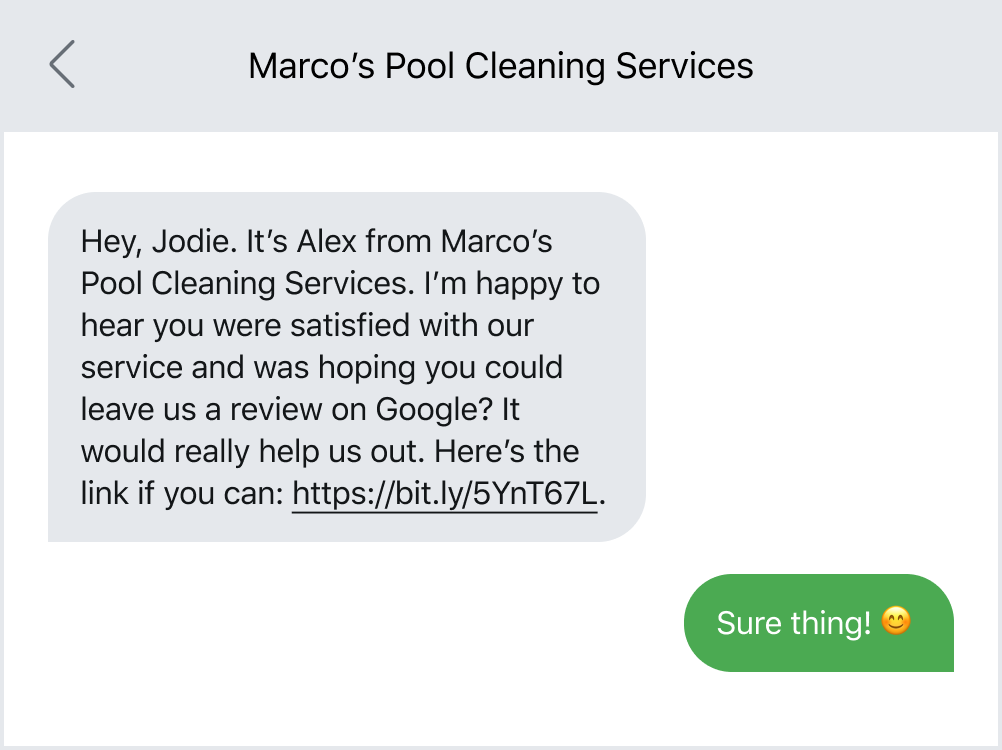Asking for a customer review via text