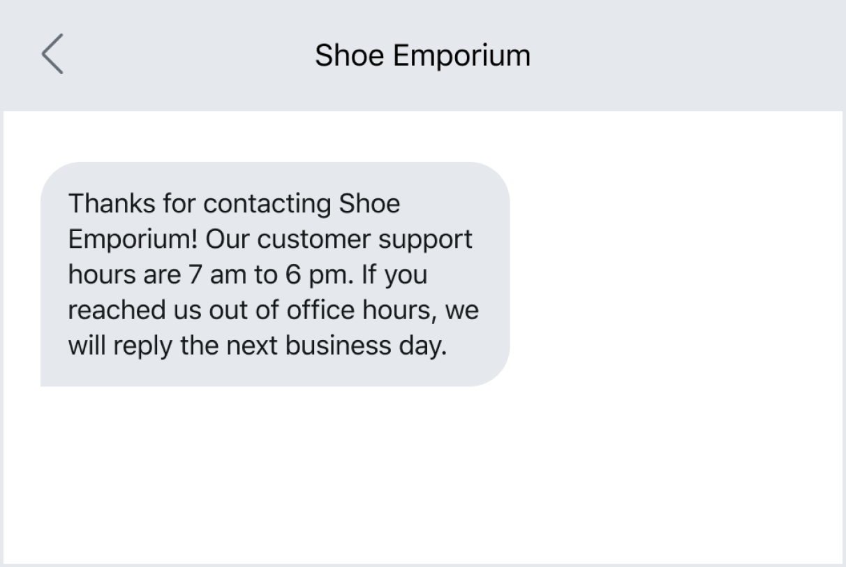 Example out of an automated out-of-office text