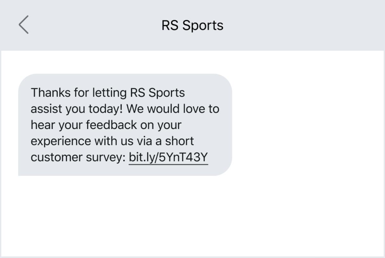 Example of sending a customer feedback survey via text