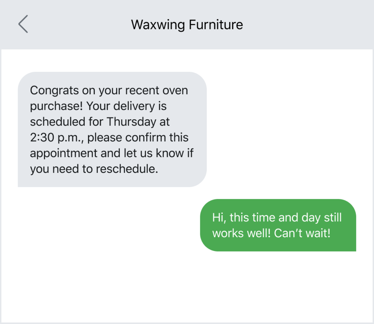 Example of sending delivery confirmation via text