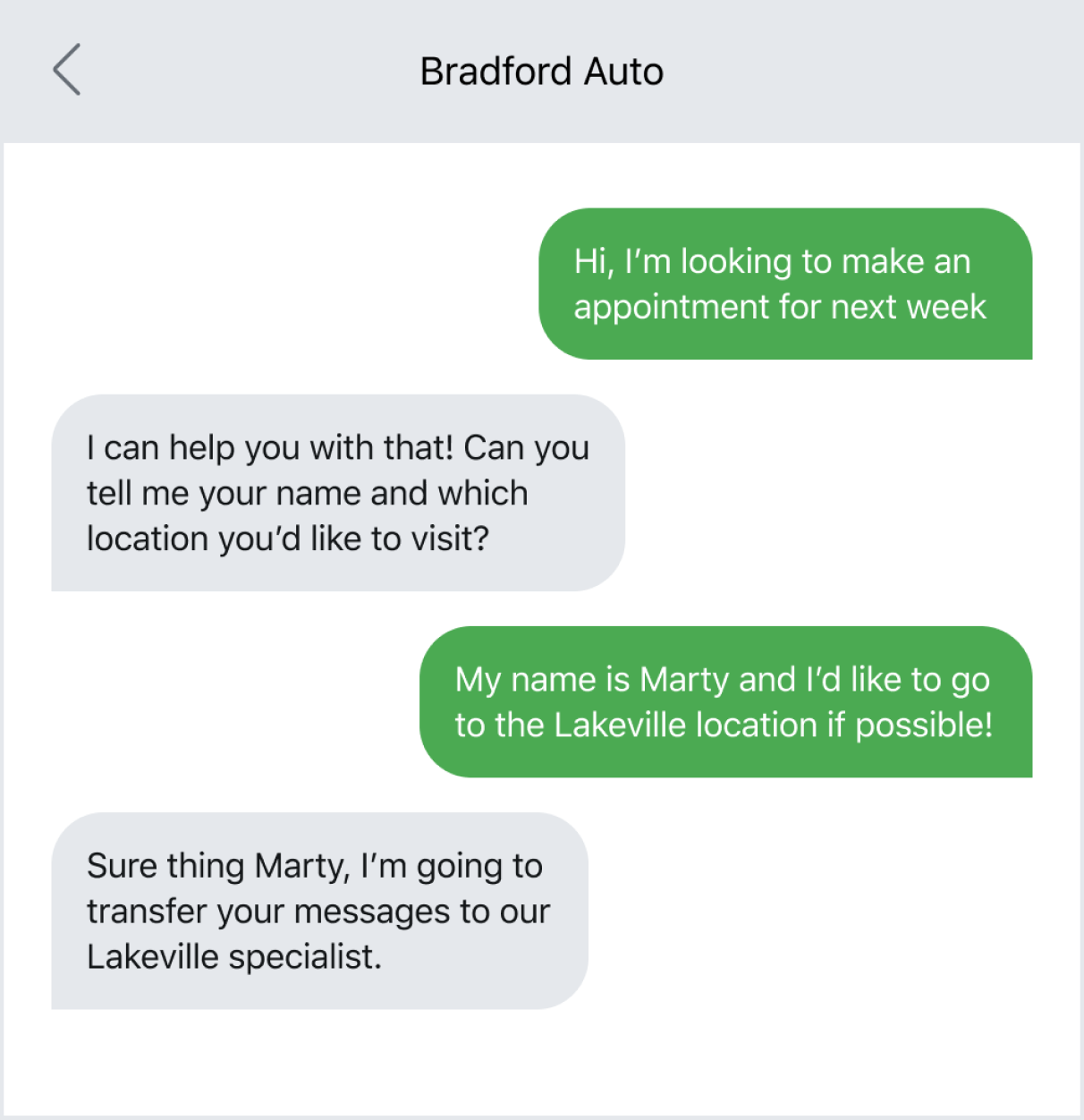 Example of texting to explain multiple locations of a business