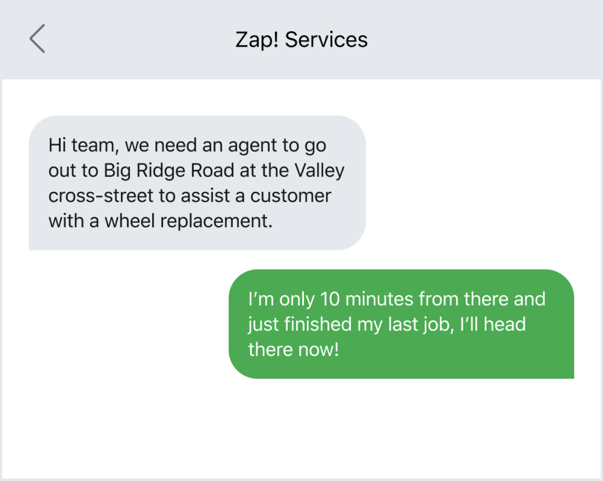 Example of using texting to coordinate with field employees