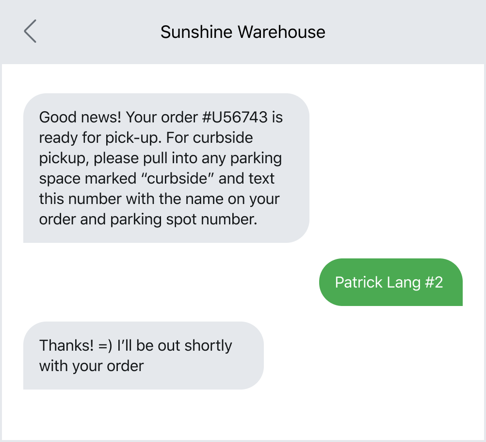 Example of a retail business texting a customer about an order pickup