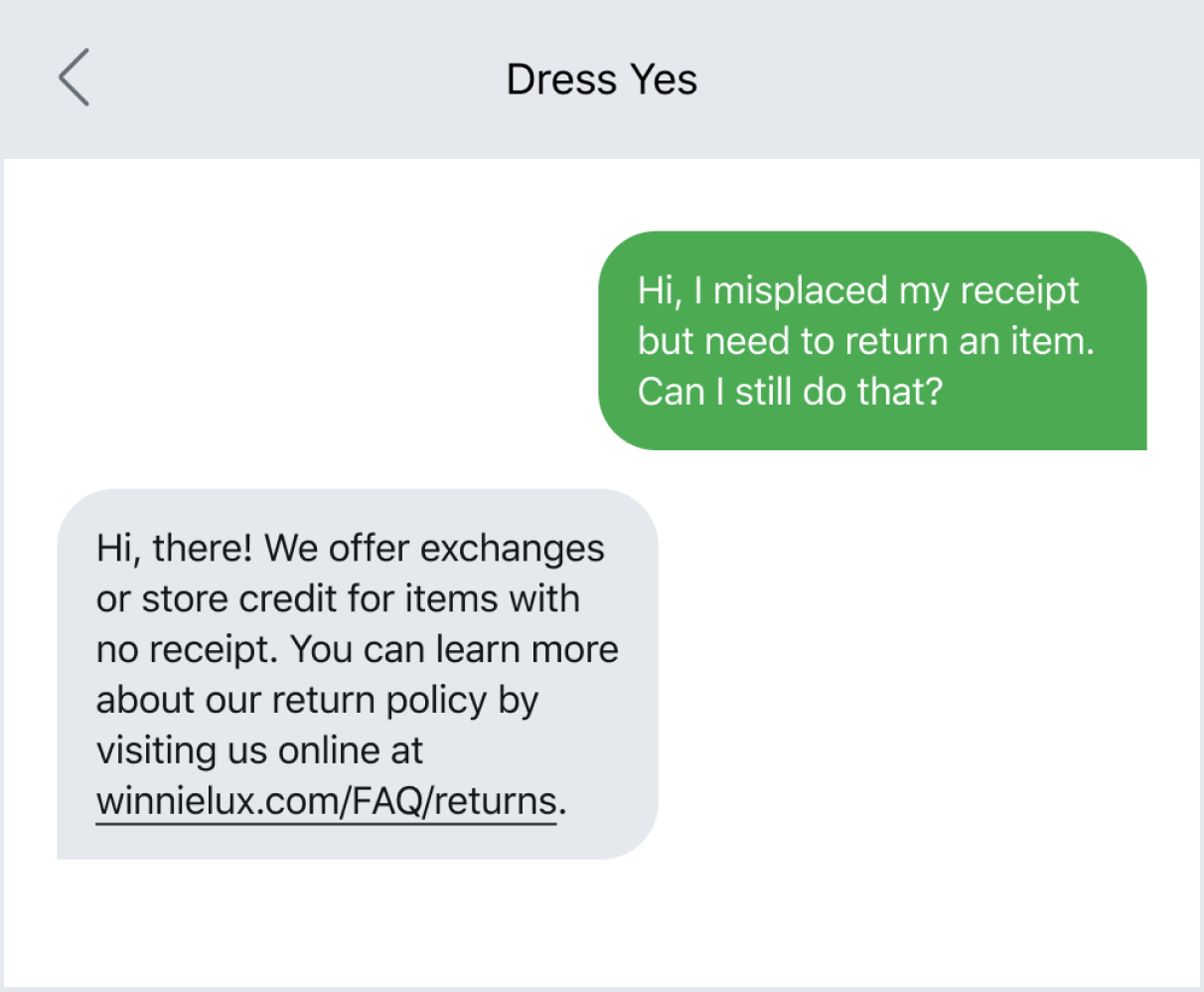Sending a link via text to improve customer support
