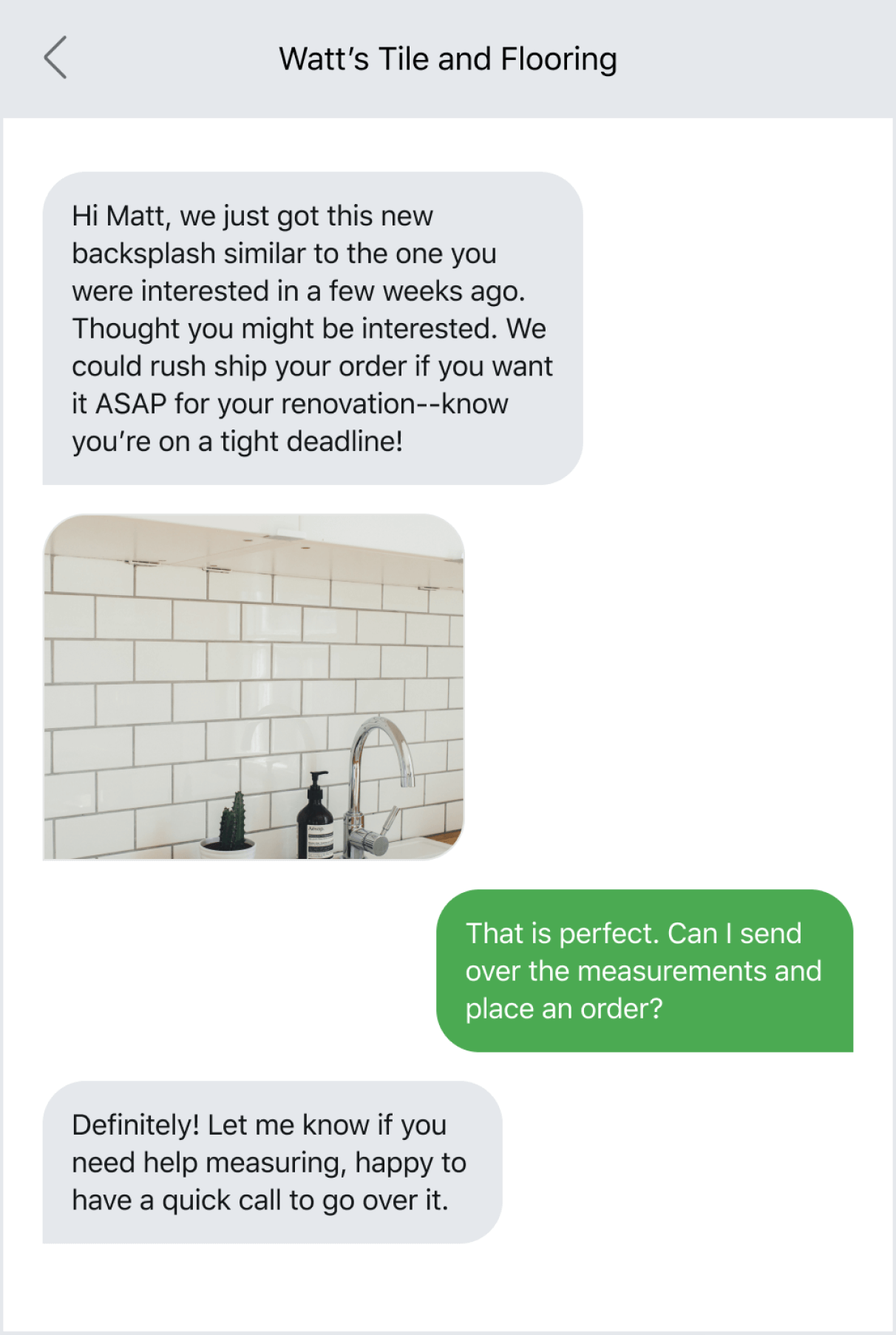 Example of creating a personalized shopping experience via text