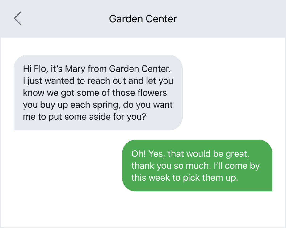 Example of being proactive with a customer via text