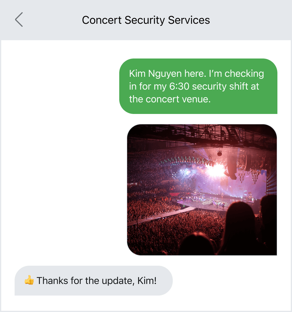 Texting a photo to serve as documentation that someone completed their job
