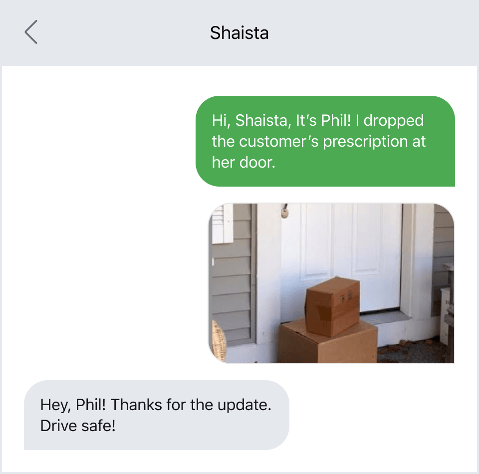 Texting a photo of a delivery to prevent theft