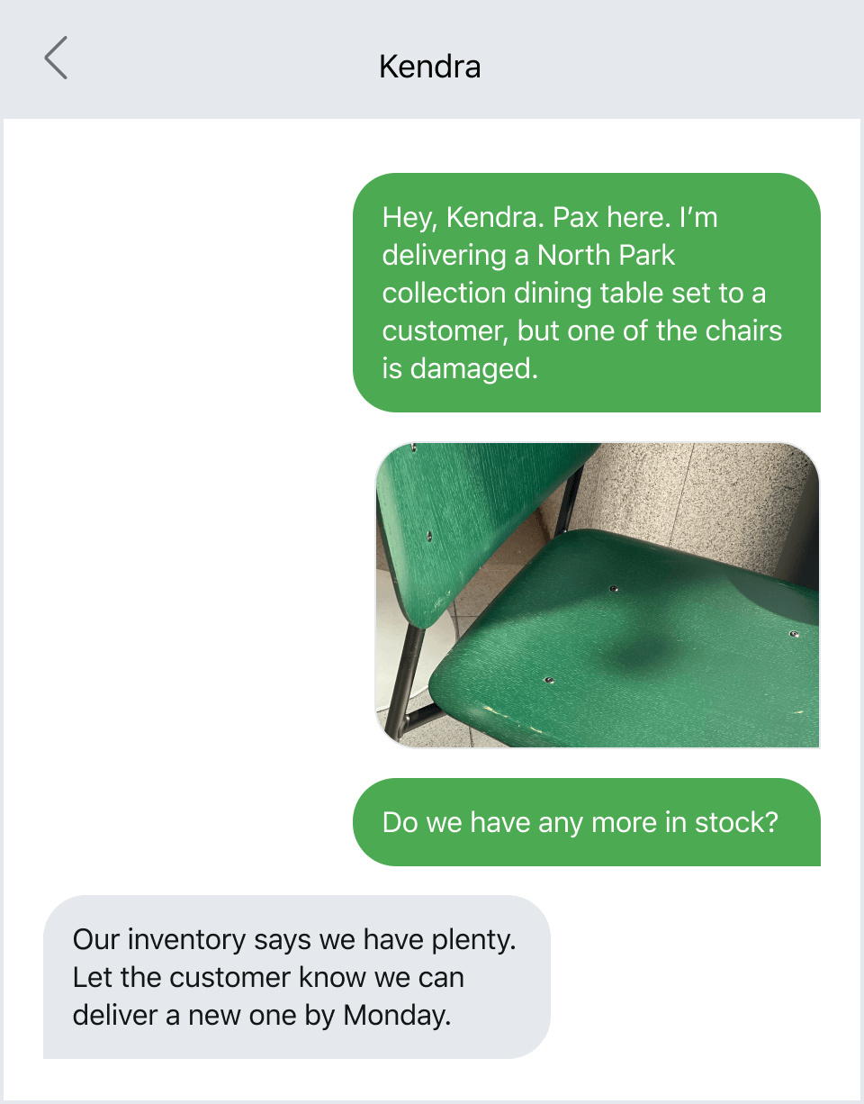 Example of texting to communicate about a damaged product