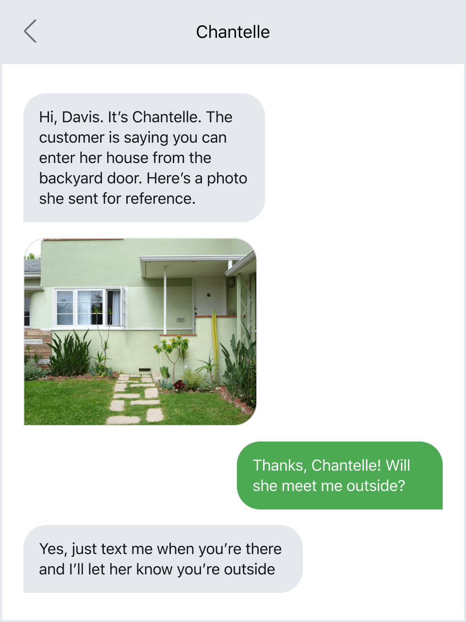 Example of sending location details with pictures via text