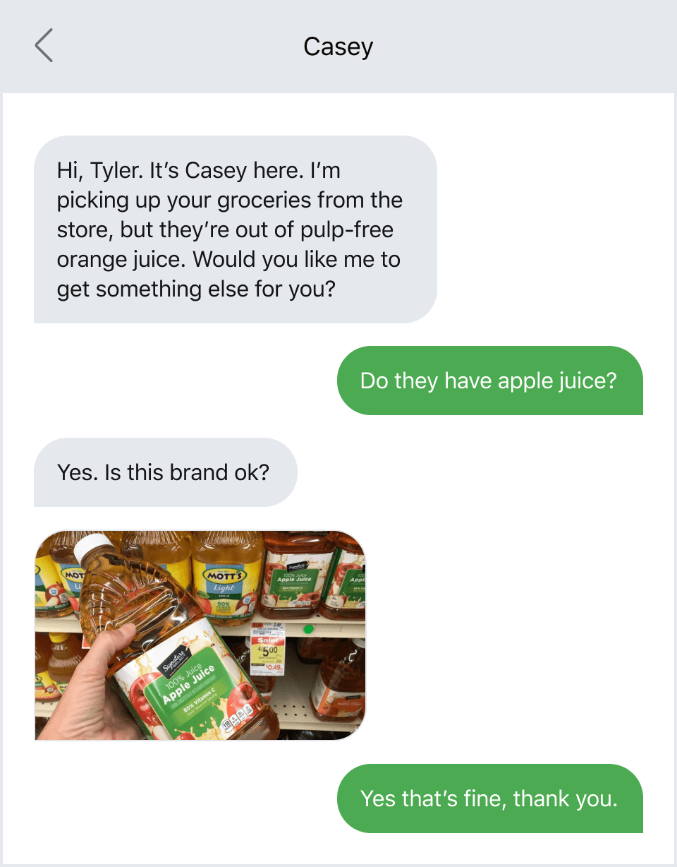 Updating a patient on their order via text message