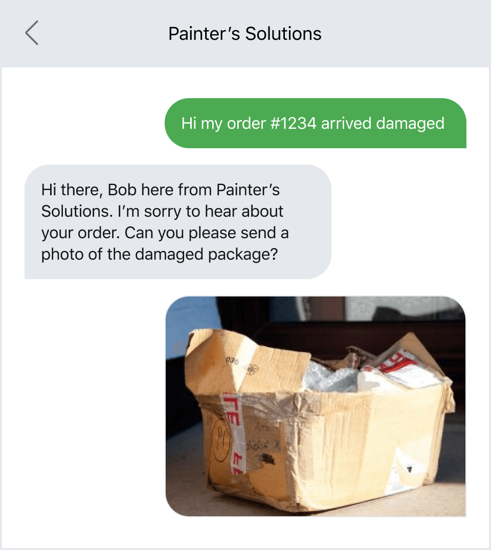 Damaged product photo in MMS conversation