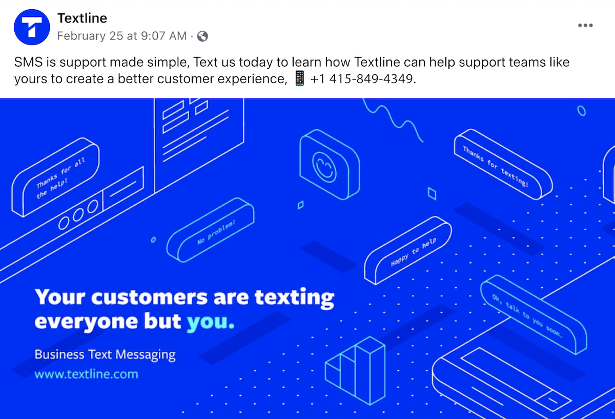 Using a business texting phone number in a Facebook ad campaign