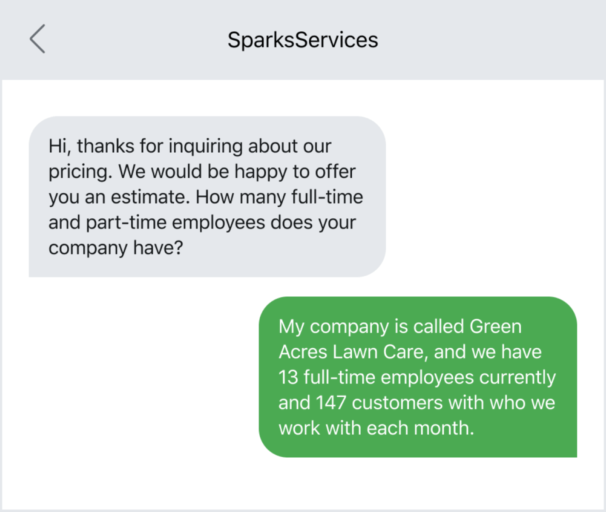 Example of following up with a lead who request a price quote via text