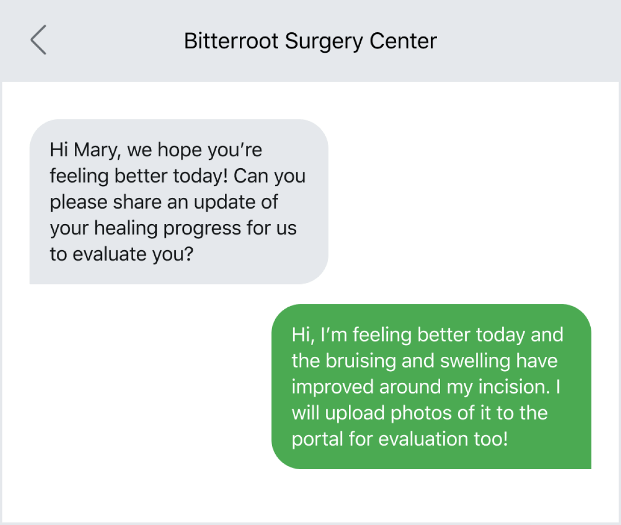 Asking a patient for a health update via text