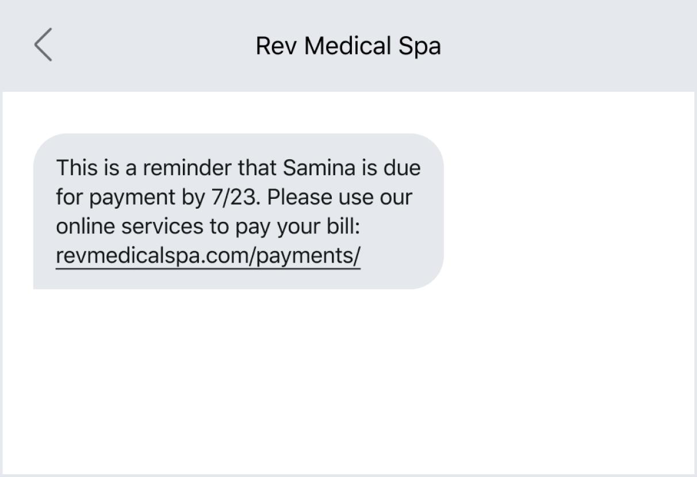 Bill payment reminder via text