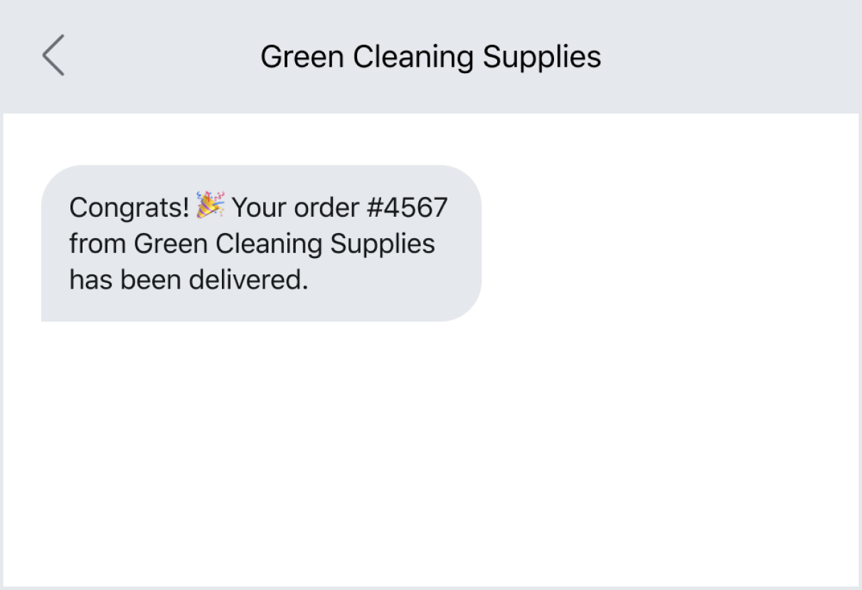Example of a shipment update via text