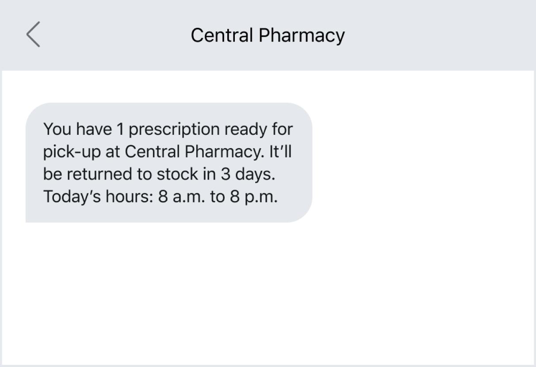 Prescription order updates via text