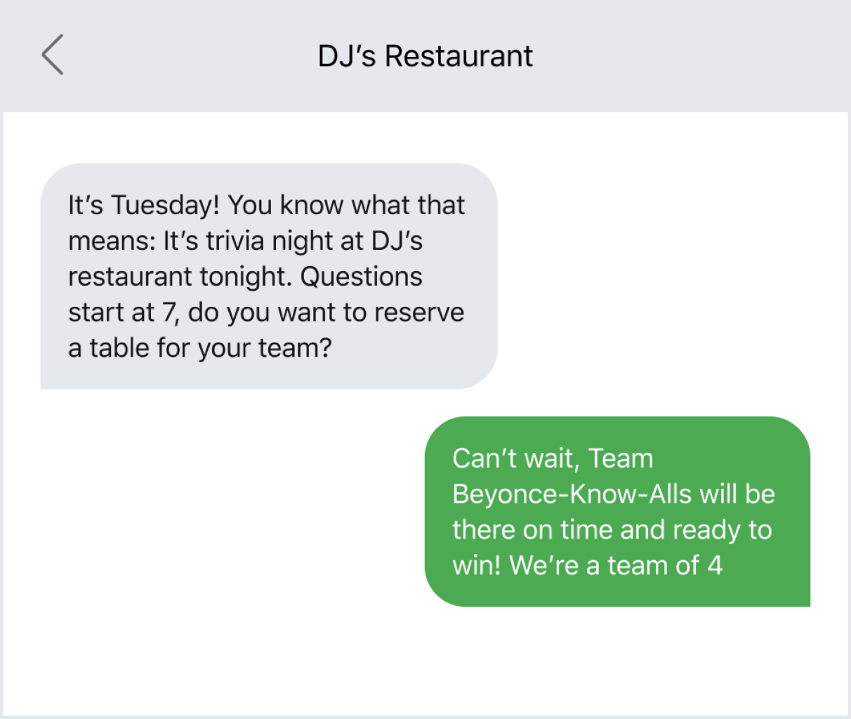 Example of sending an event reminder via text