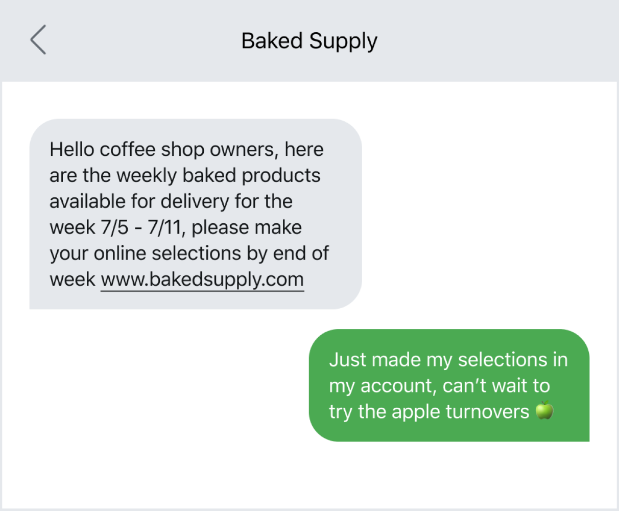 Example of promoting a new product via text