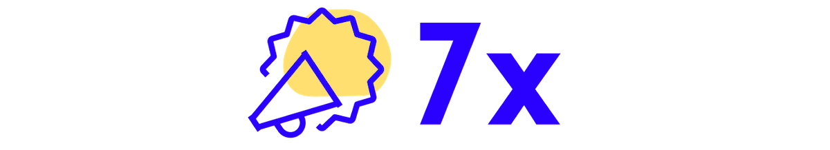 Megaphone icon with 7x