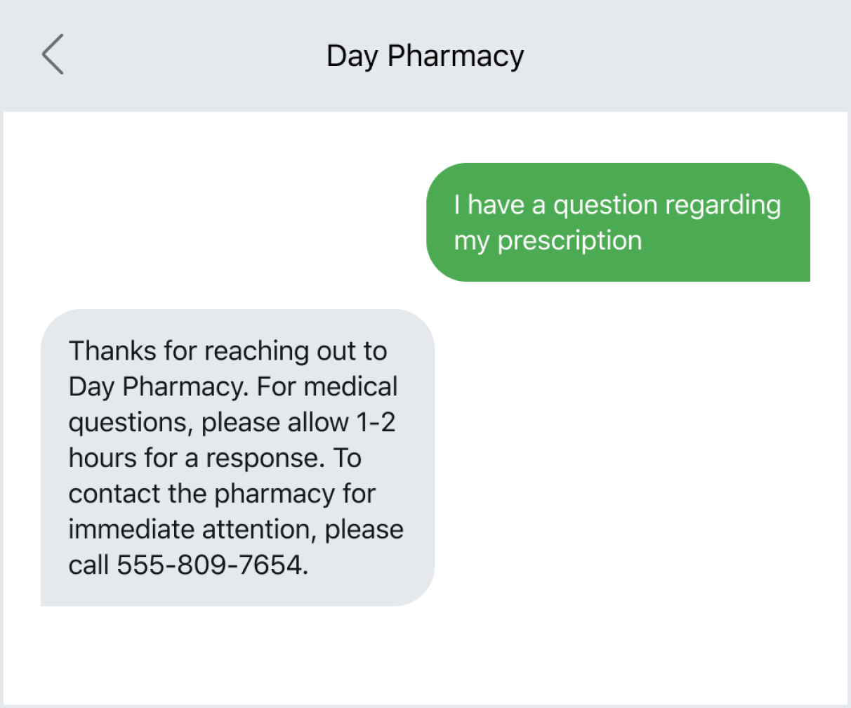 Text auto-reply confirming the message was received