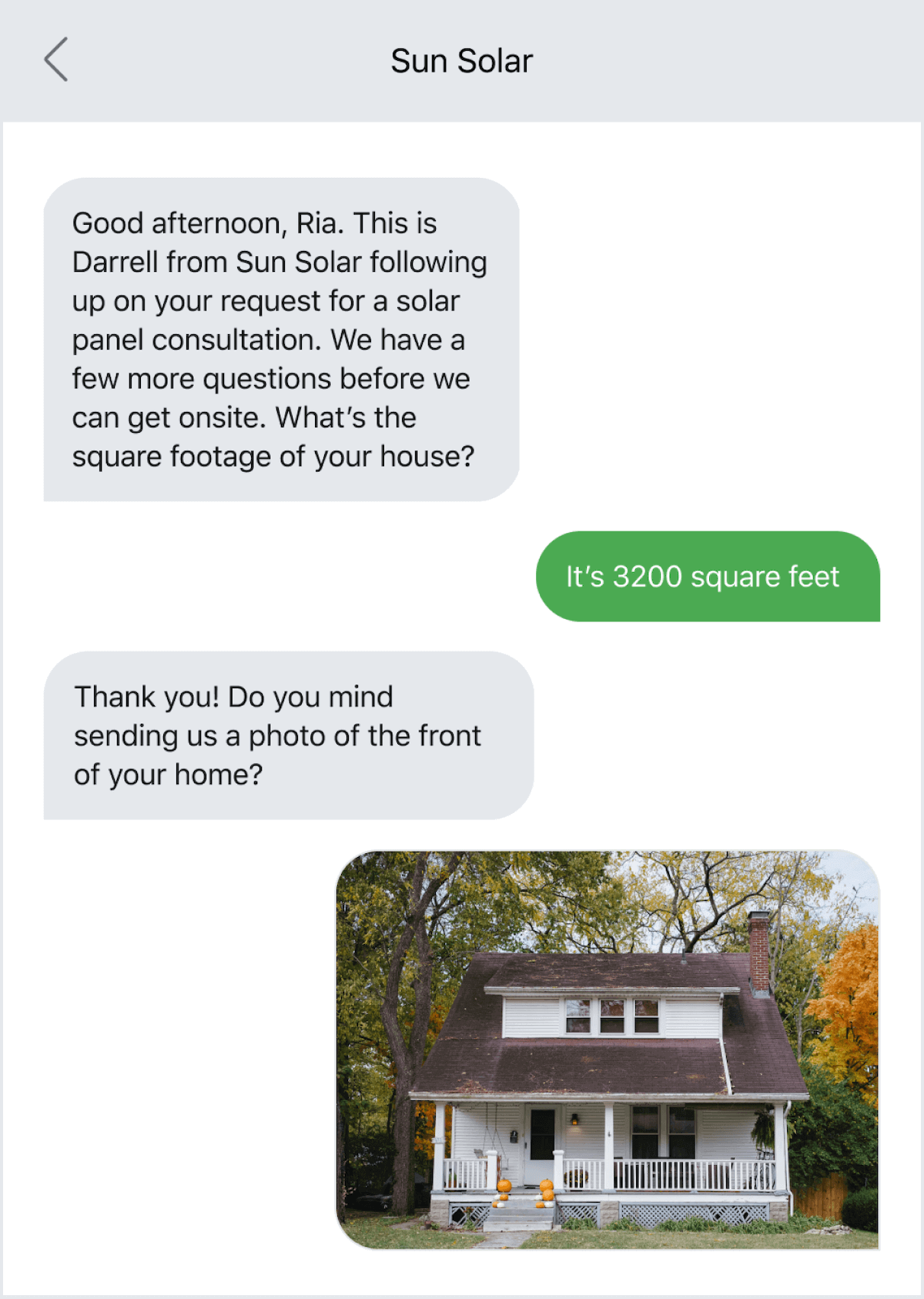 Text message example of an ongoing two-way conversation with a customer