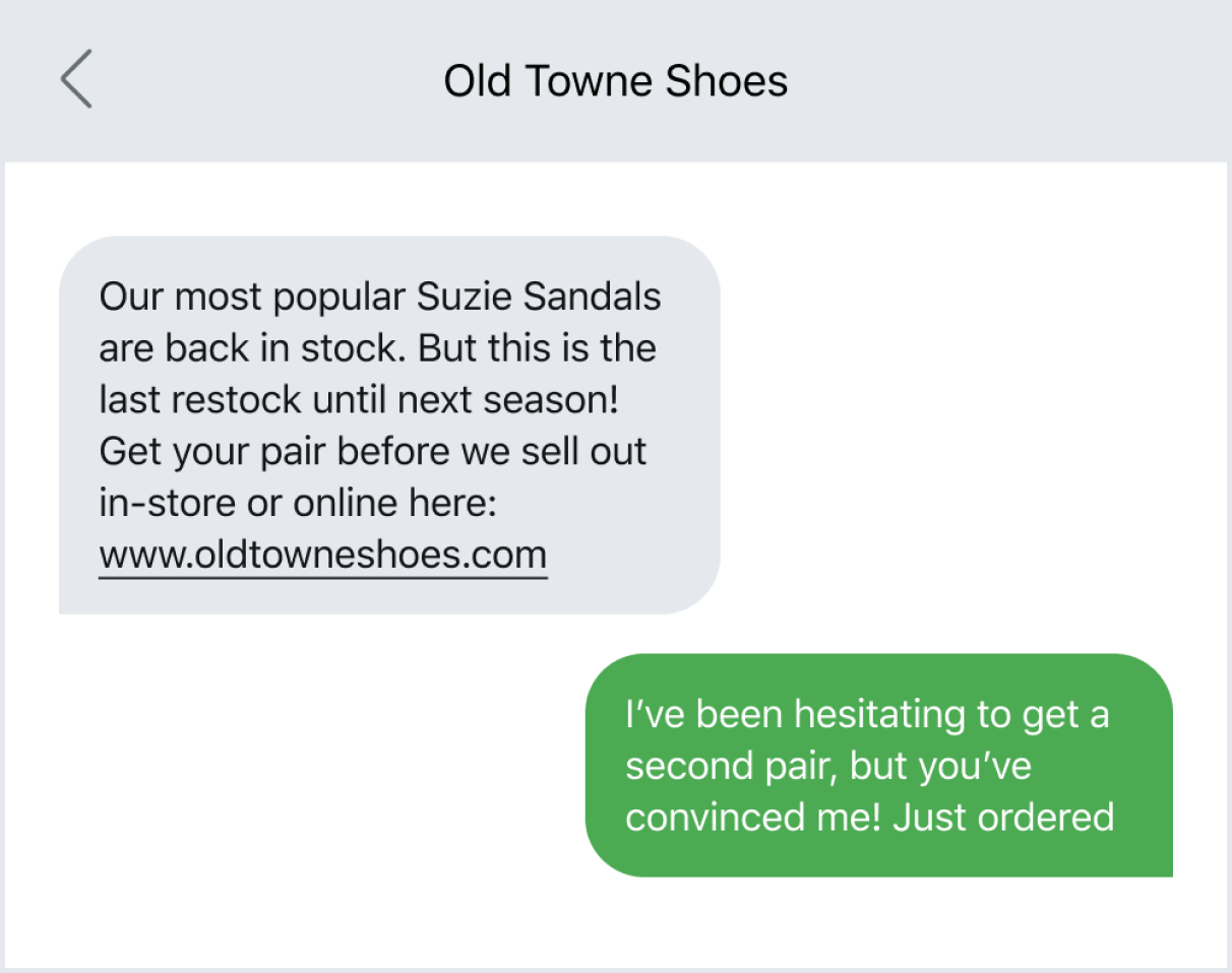 Texting customers about a restocked item