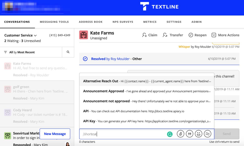 Textline's shortcuts feature