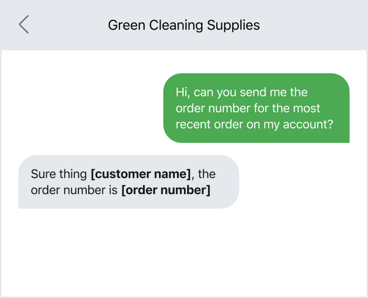 Customer service SMS template for requesting an order number