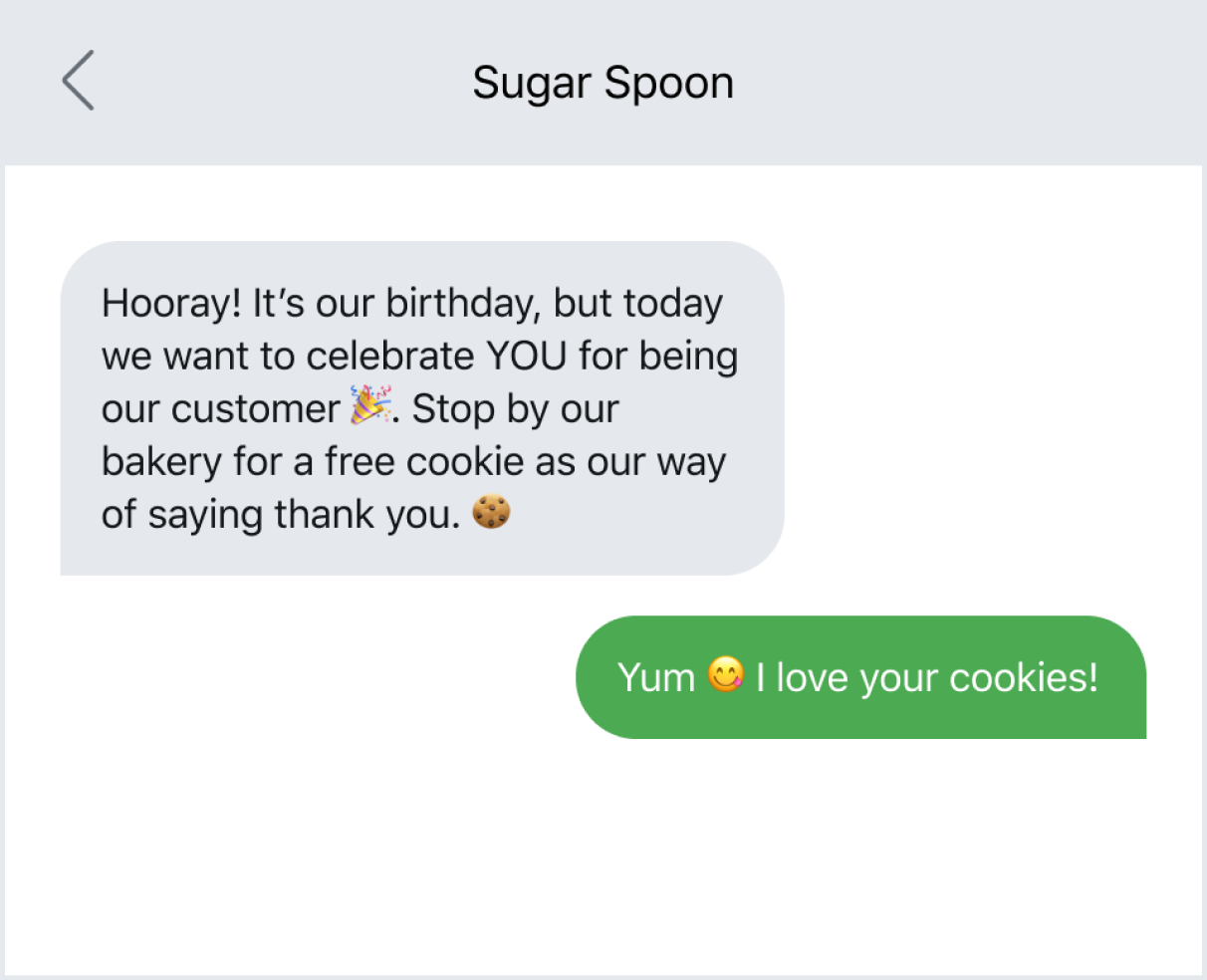 Promotional text with emojis