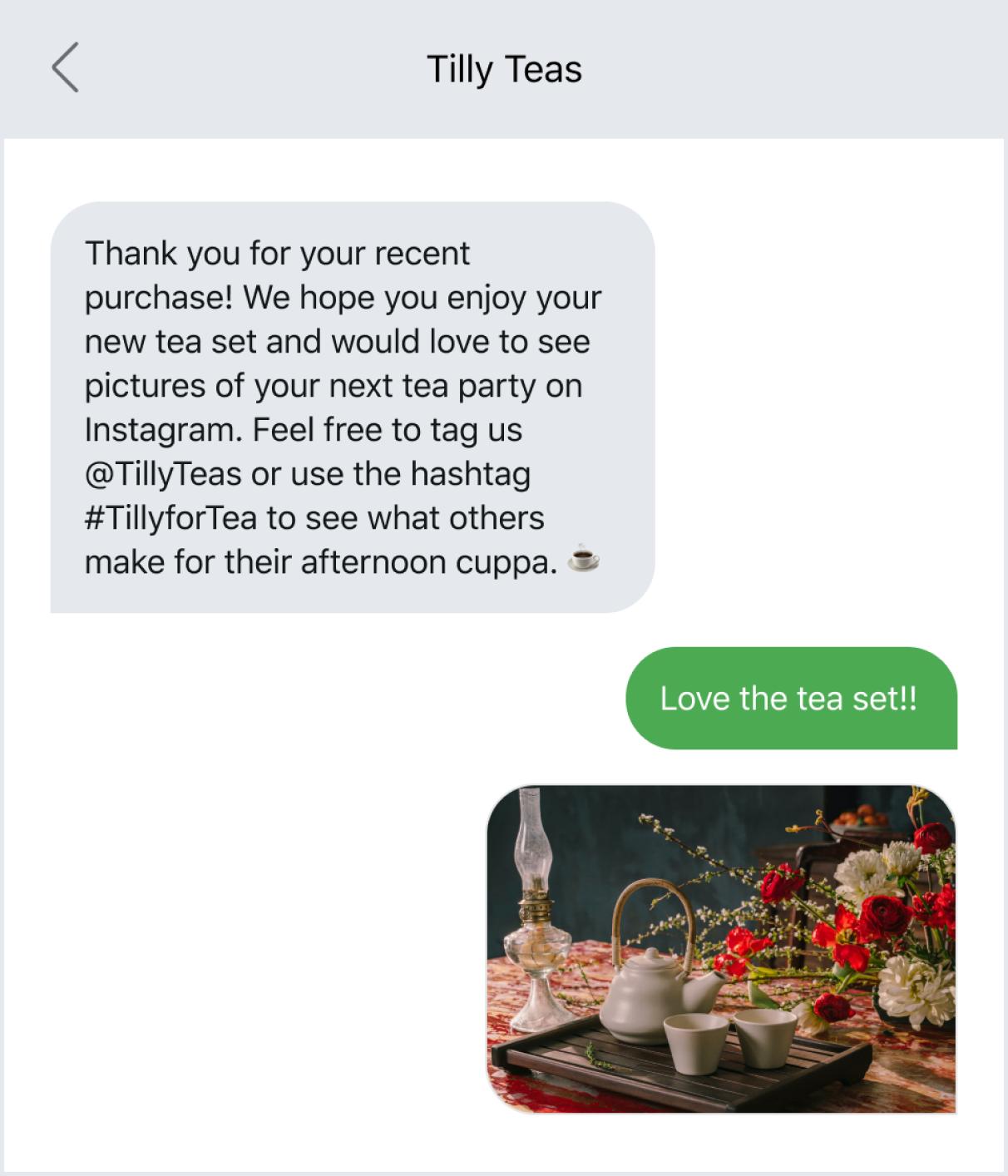 Sharing photos via text