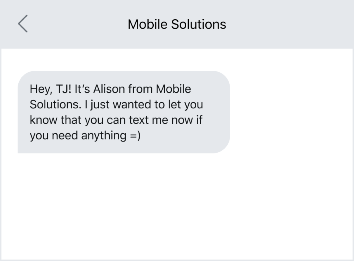 Following up with an existing customer via text