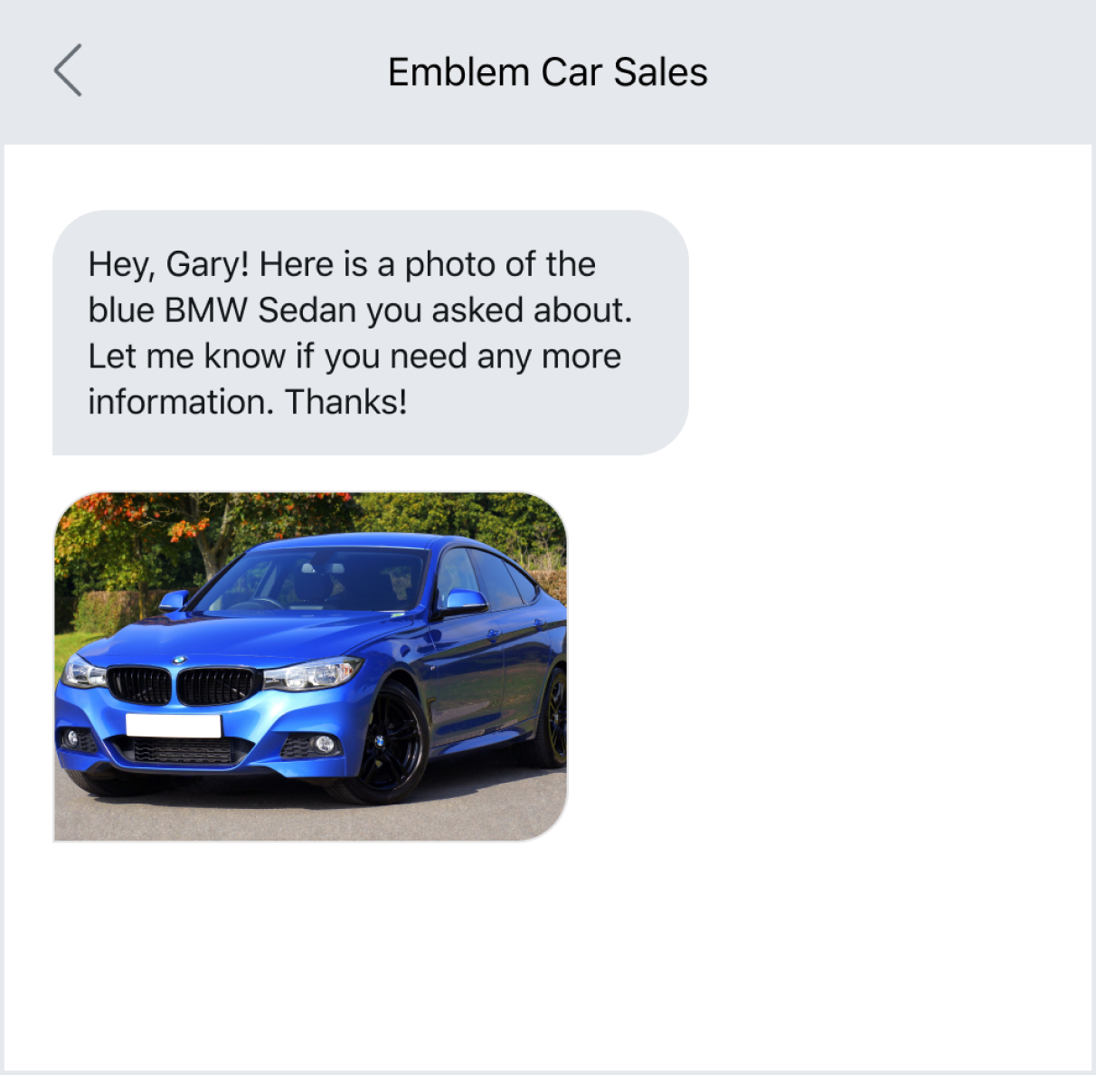 Sending a photo of a car to a potential buyer via text