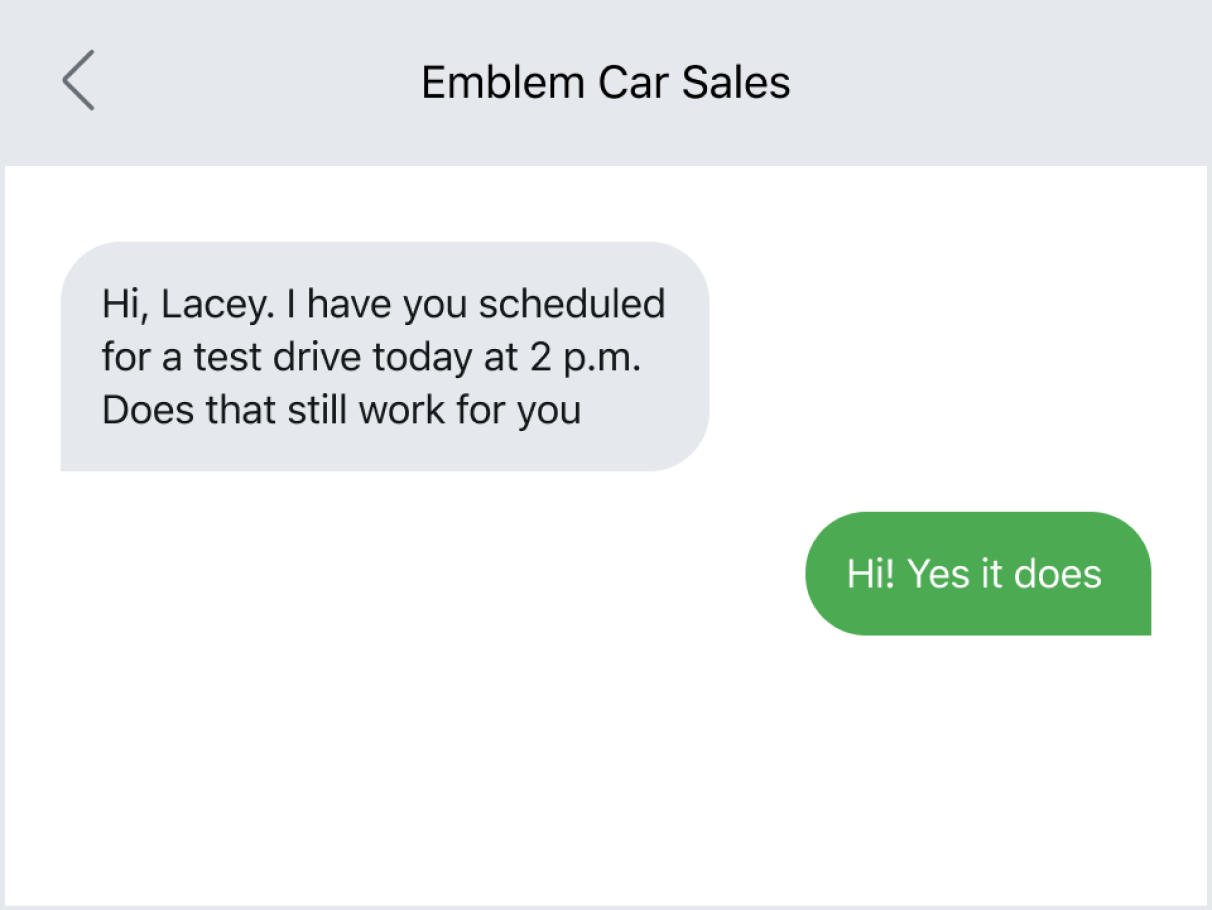 Sending a reminder text for a test drive