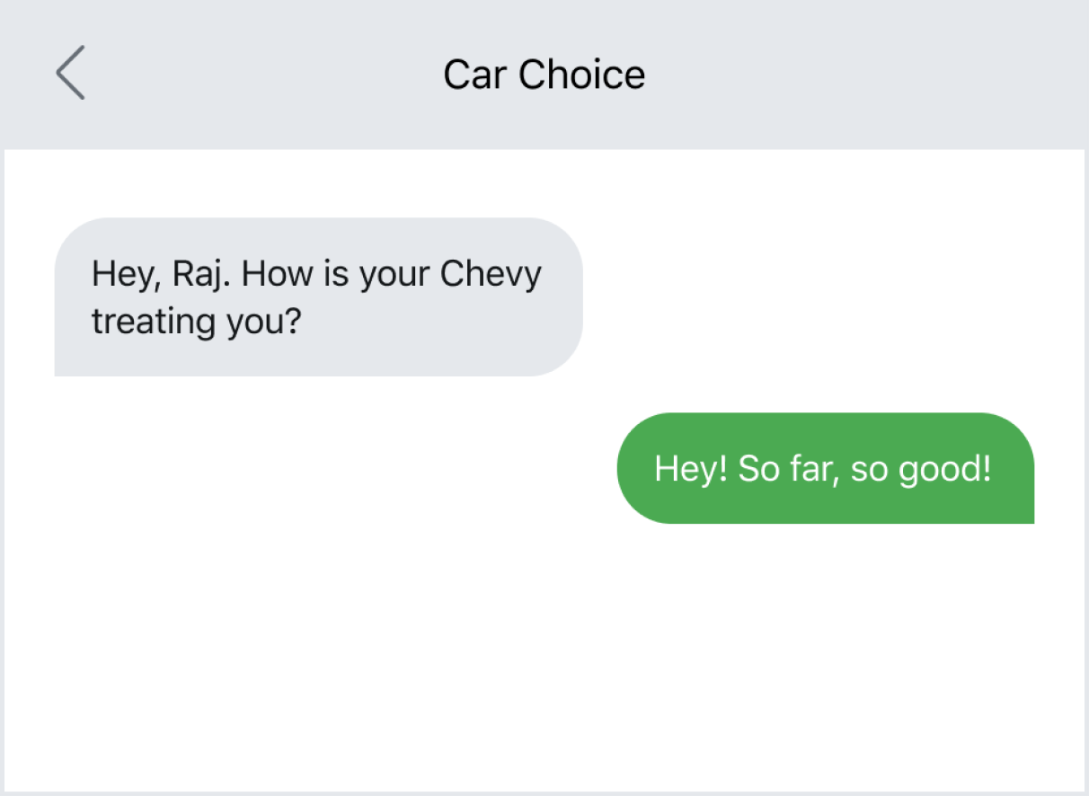 Check-in with a customer via text post-purchase