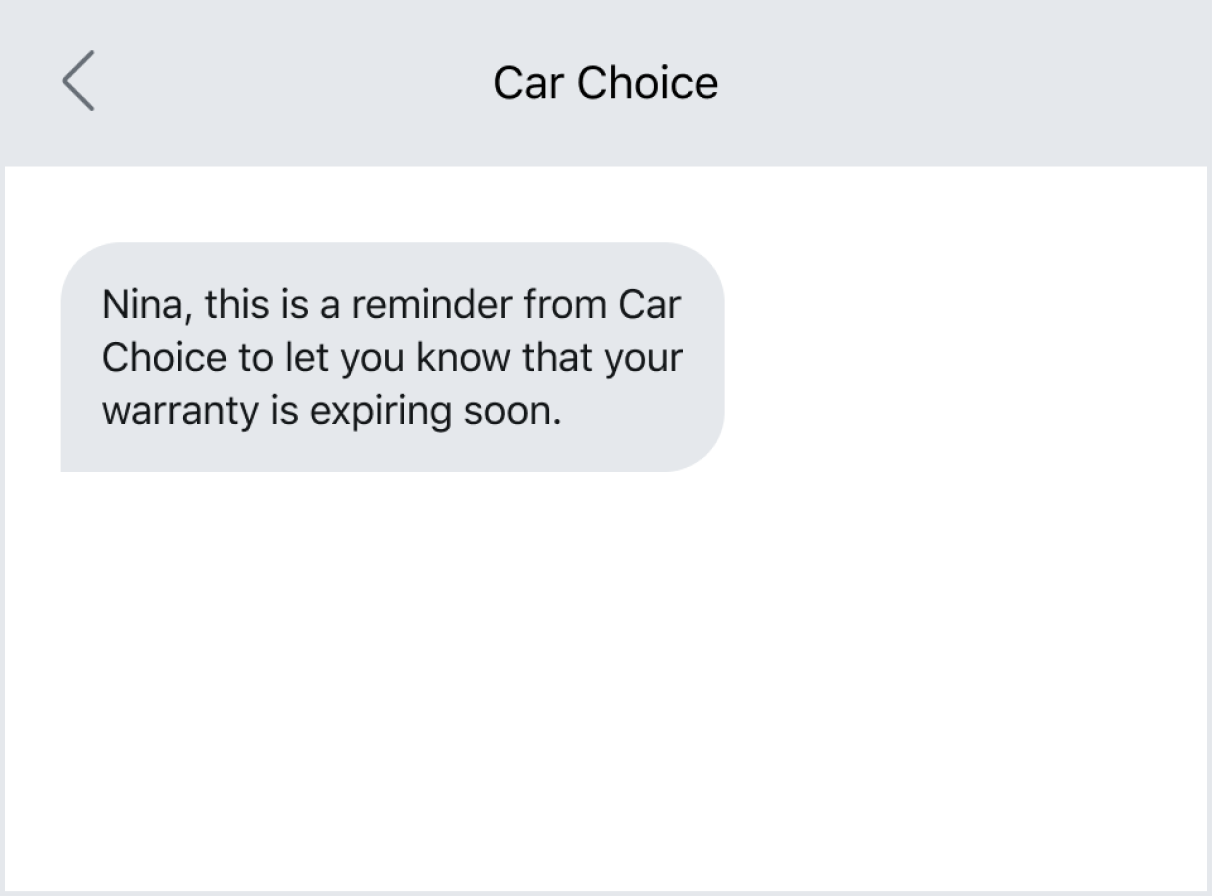 Text reminder about a warranty expiring