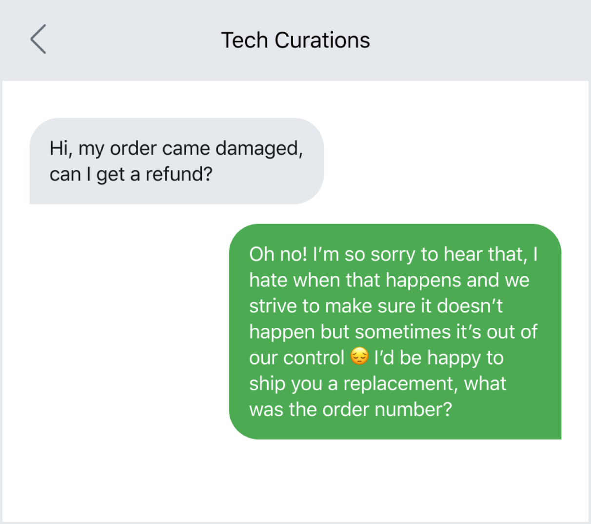Example of focusing on human interacting in customer service texting