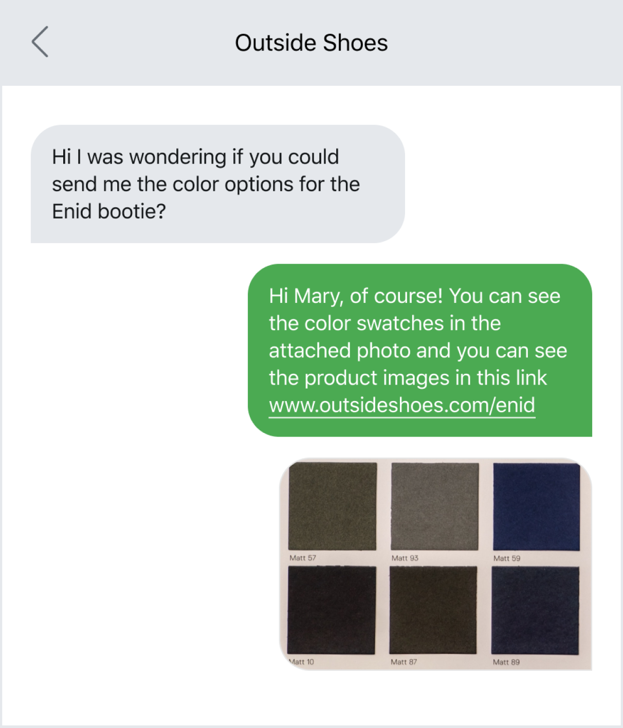 Utilizing links and photos in a text message