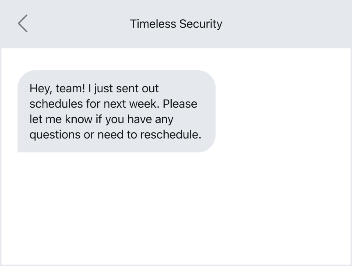 Example of texting an employee without a required action