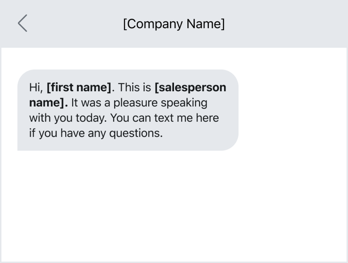 A text message example of reaching out to a prospect after an initial phone call