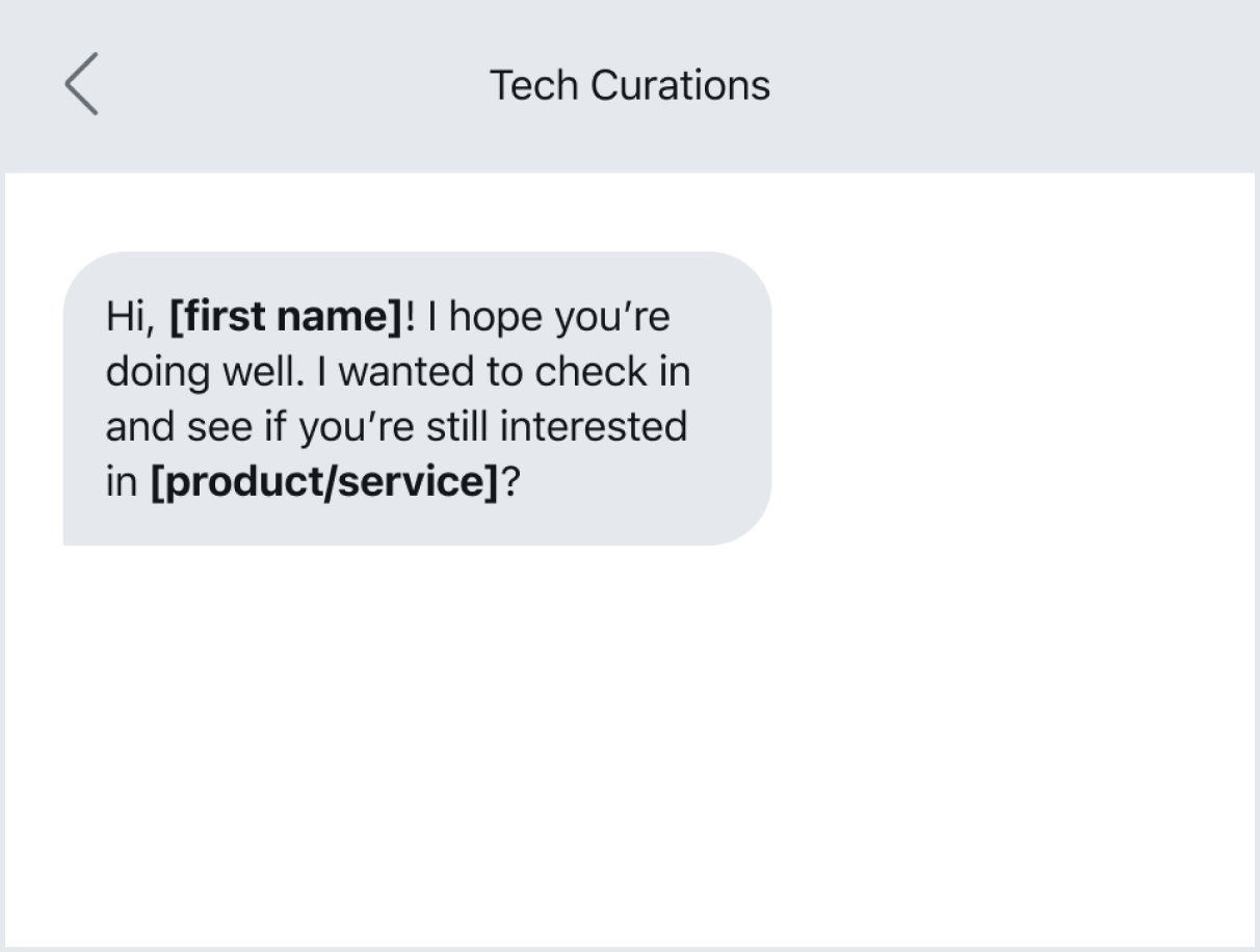 Text example of checking if there is still interest in your product/service
