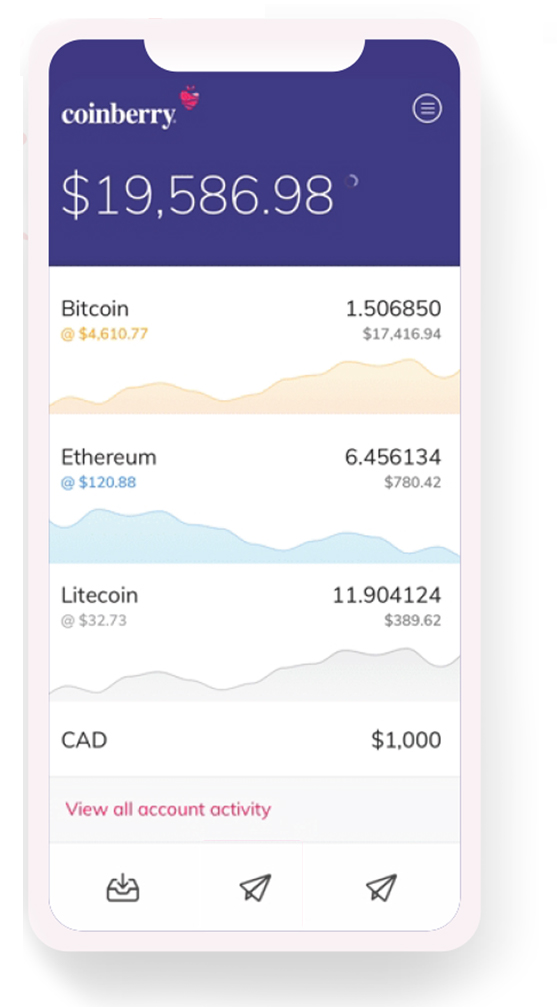 Coinberry Bitcoin trading app mobile interface