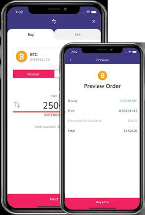 easy buy BTC with CAD UI