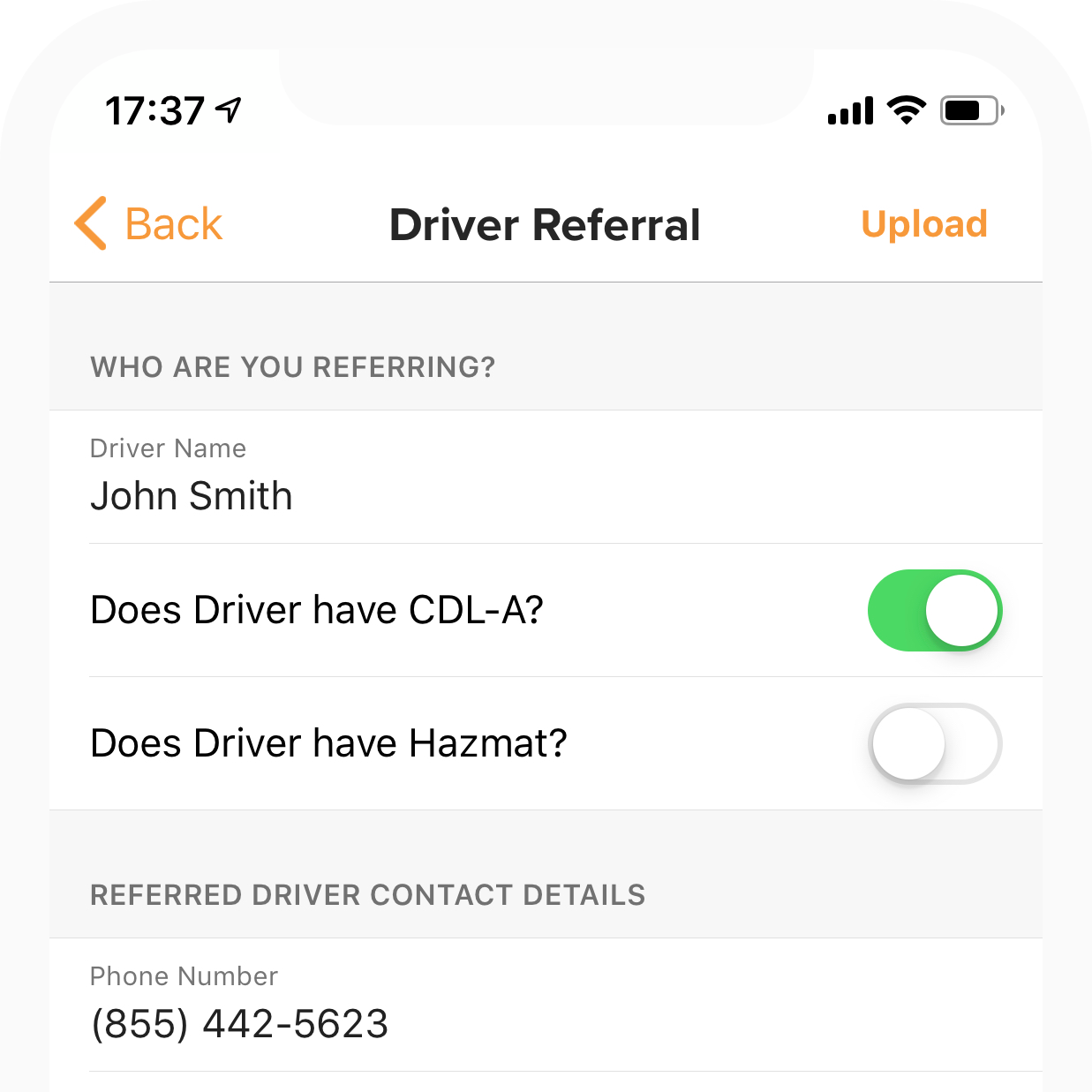 driver referrals, recruit in app